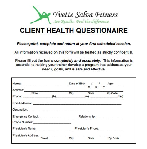 personal trainer client profile template new client forms 187 yvette salva fitness