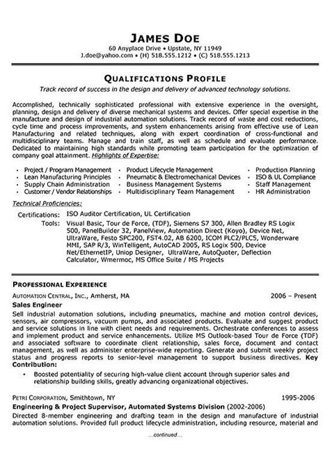 engineering resume sles for experienced sales engineer resume exle resume exles engineers