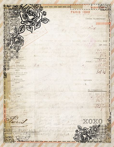 fashioned writing paper template free to printable vintage style