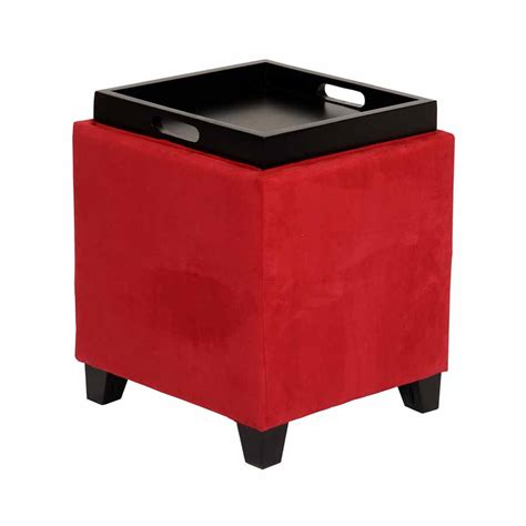 microfiber storage ottoman with tray red microfiber square storage ottoman with serving tray