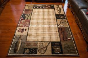 Rustic Cabin Area Rugs 7x10 6 7 Quot X 9 6 Quot Lodge Cabin Rustic Lake Fishing Fish Decor Area Rug Ebay