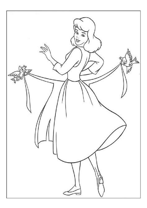 cinderella birds coloring pages cinderella s birds helping her wear apron coloring pages