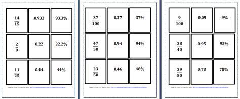 printable decimal number cards percentages fractions and decimals worksheets comparing