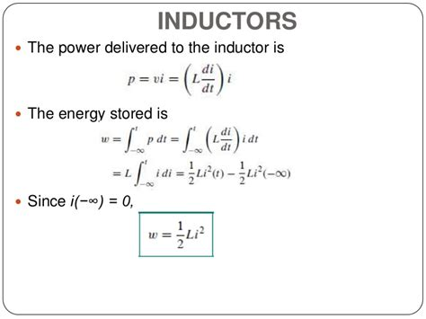 what is the formula of inductor circuit theory 1 finals