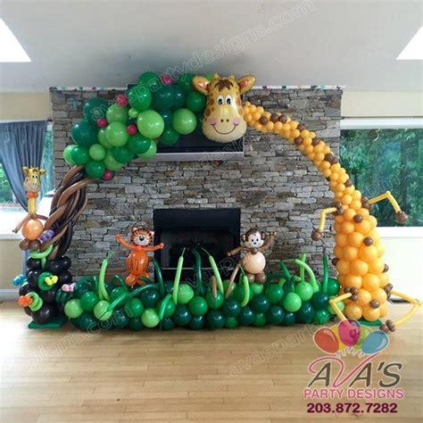 balloon themed birthday party giraffe balloon arch balloon tree arch safari jungle