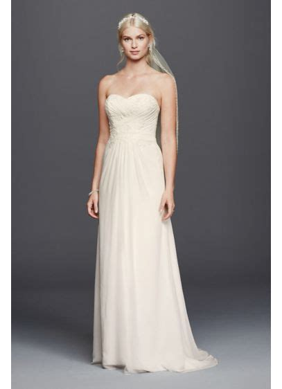 Chiffon Lace Dress chiffon lace sweetheart wedding dress david s bridal