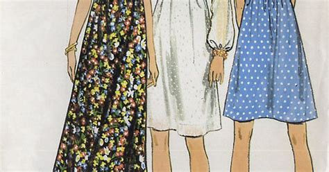 regex pattern length vintage 1970s empire waist dress pattern butterick 6175