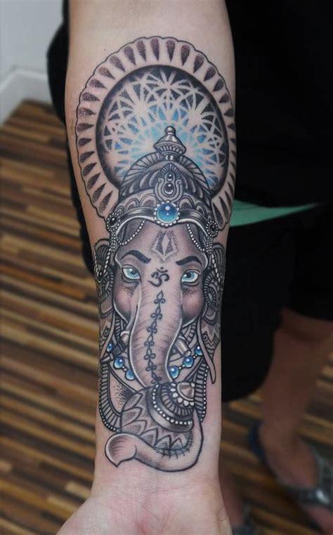 ganesha tattoo unterarm dotwork ganesh mandala tattoo by obi tattoonow