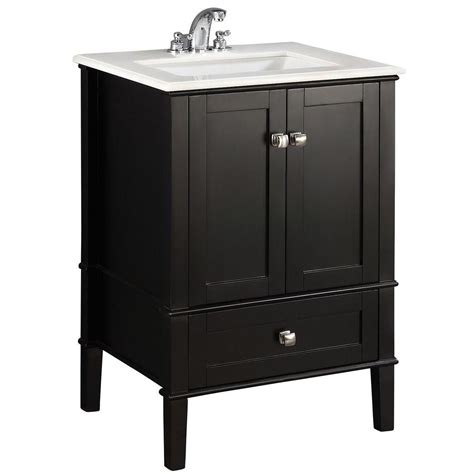 Home Depot Bathroom Vanity Sink Tops Simpli Home Chelsea 24 In Vanity In Black With Quartz Marble Vanity Top In White And