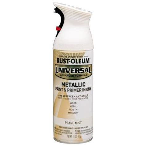 rust oleum universal 11 oz all surface metallic pearl mist spray paint and primer in one 261411