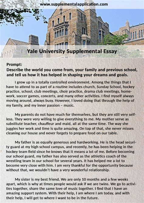 Yale Supplement Essay by Professional Help With Yale Supplement Essay Supplemental Application