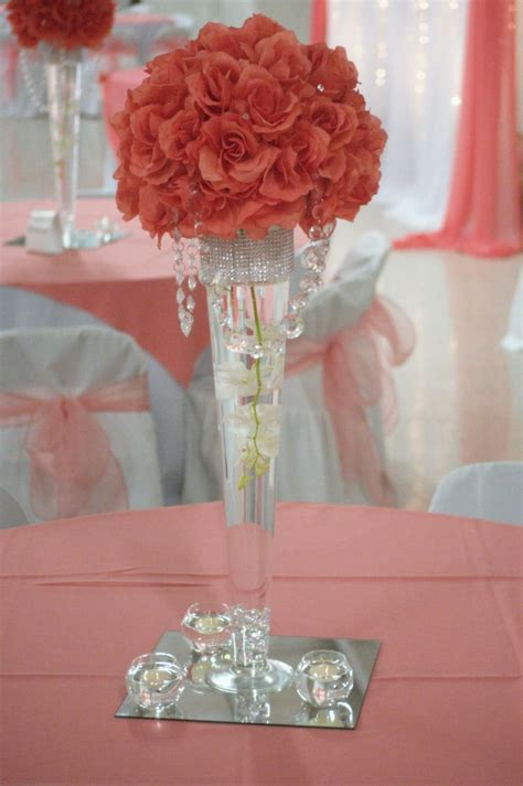 coral wedding flowers for beautiful wedding centerpieces