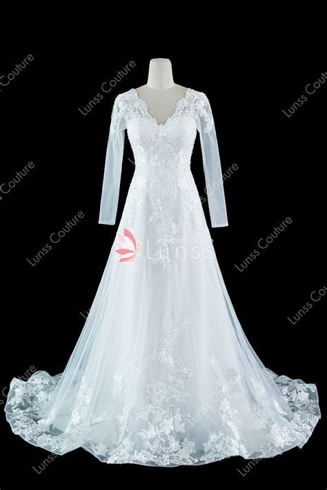 V Neck Sleeve A Line Dress ivory sleeve v neck lace tulle a line wedding dress