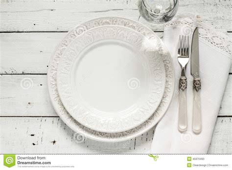 White Table Settings White Table Setting From Above With Empty Plate Stock Image Image 45975493