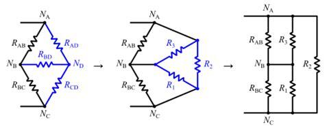 triangular resistor network تحويل ستار دلتا y δ لتبسيط تحليل الدوائر الكهربائية منتديات درر العراق