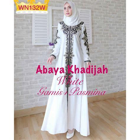 Mukena Katun Bordir Khadijah Putih baju muslim pesta bordir abaya khadijah grosir gamis murah