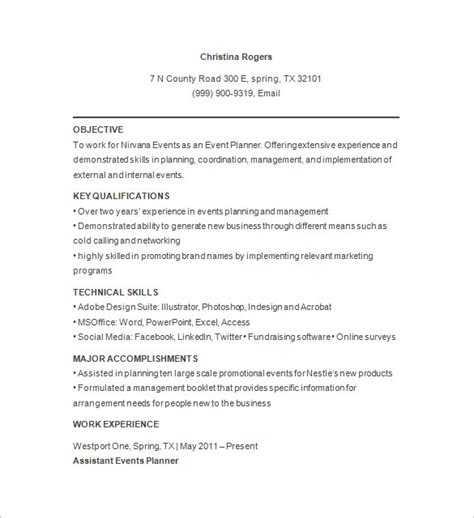 Planner Resume Pdf by 10 Event Planner Resume Templates Doc Pdf Free