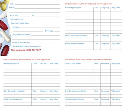 free medication list template 6 best images of free printable medication list free