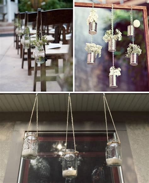 Tin Decor by Hanging Tin Cans Wedding Decorating Ideas