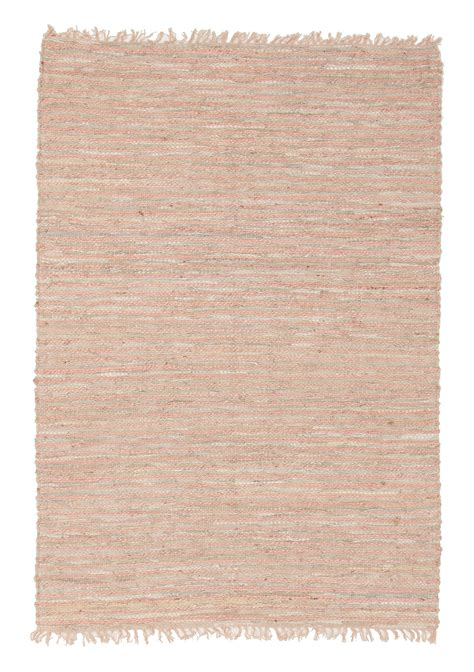 leather rugs valparai pink jute greige leather rug
