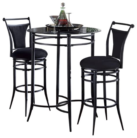 Indoor Bistro Table Set Cierra 3 Black Bistro Set Contemporary Indoor Pub And Bistro Sets By Overstock