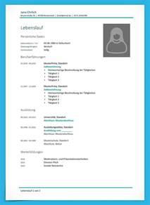 Lebenslauf Muster Und Vorlagen Kostenlose Lebenslauf Muster Und Vorlagen Zum