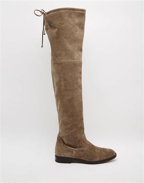 aldo aldo barra taupe suede flat the knee boots at asos