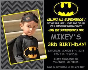batman birthday invites batman