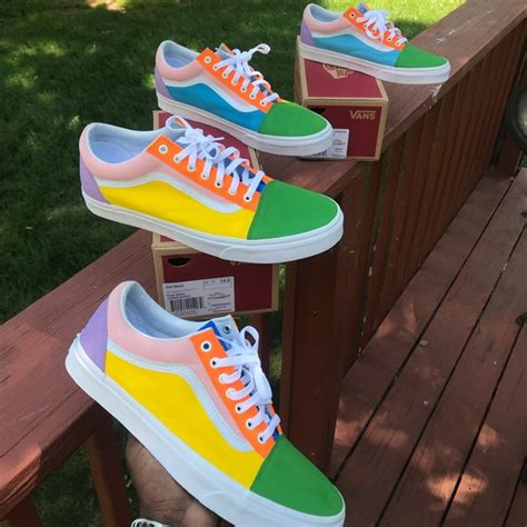 colored vans vans shoes customized low skool multicolored poshmark