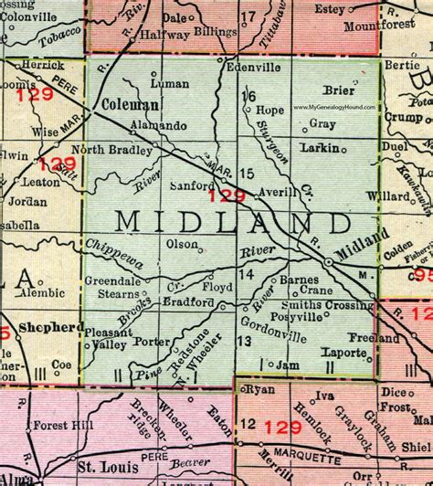 Midland County Records Midland County Michigan 1911 Map Rand Mcnally Coleman Sanford Edenville