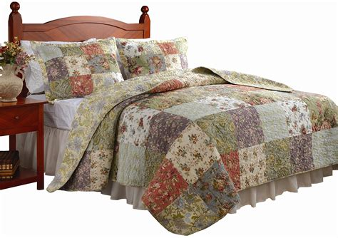 quilt comforter set king bed three pcs floral white brown