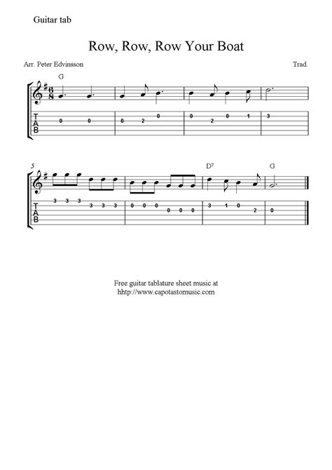 row the boat guitar row row row your boat easy free guitar sheet music and tabs