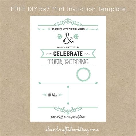free mint vintage style invitation template digital
