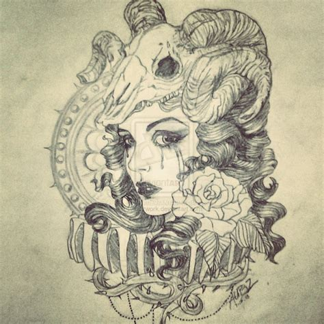 girl skull tattoo designs goat images designs