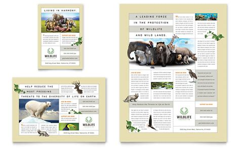 helping nature brochure template design and layout nature wildlife conservation flyer ad template design