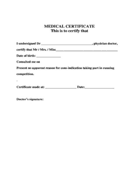 medical certificate template forms fillable printable