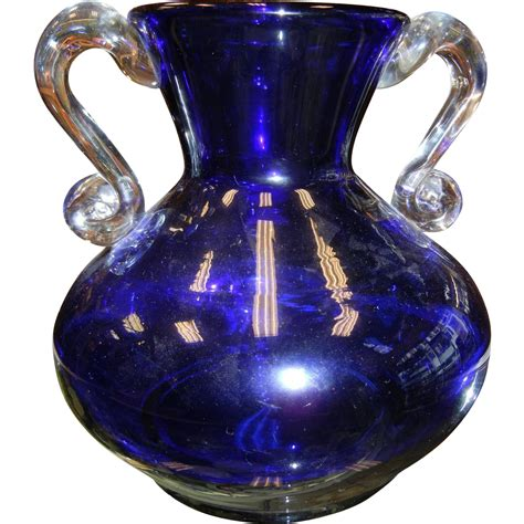 vintage wanda made in poland cobalt blue vase sold on
