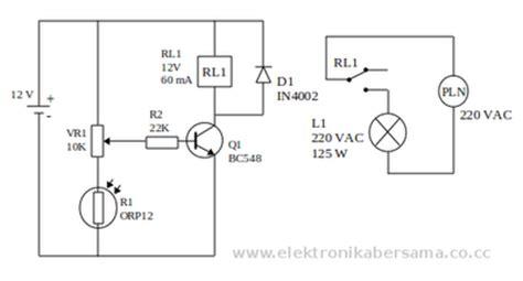 transistor sebagai saklar relay rangkaian lu otomatis menggunakan ldr
