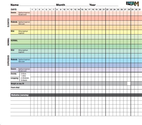hourly mood swings mood tracking chart printable calendar template 2016