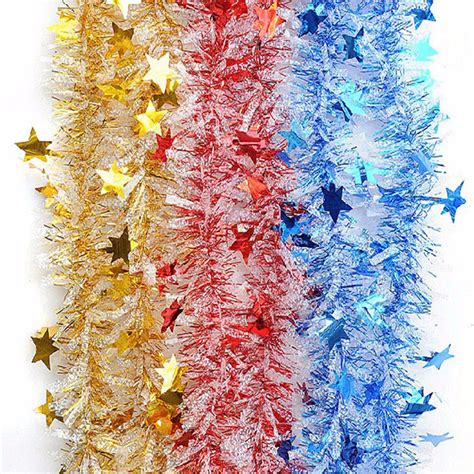 christmas shiny star garland ribbon xmas christmas tree