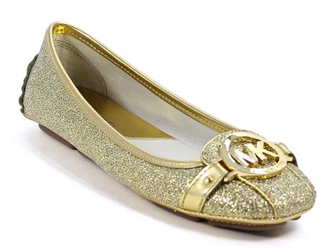 michael kors gold flat shoes michael kors fulton moc slip on flats gold glitter