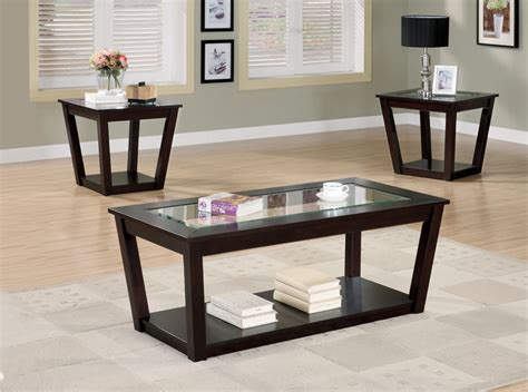 glass coffee and end table sets black coffee table sets for unique your living spaces look