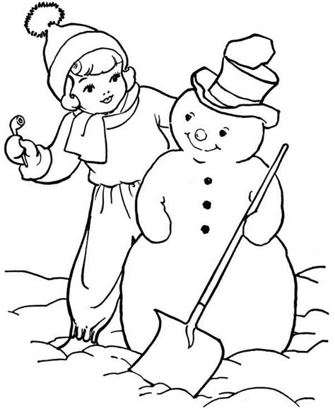 girl snowman coloring page a girl and snowman coloring page color luna