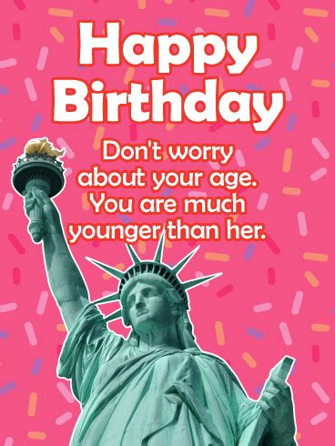 Happy Birthday Card For Younger Forever Younger Than Her Funny Birthday Card Birthday Greeting Cards By Davia