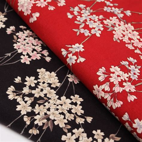 Cherry Blossoms Dress Green Embroidery Elastic Cotton 100 140x100cm japanese cherry blossom printed cotton fabric for kimono clothes dress sewing