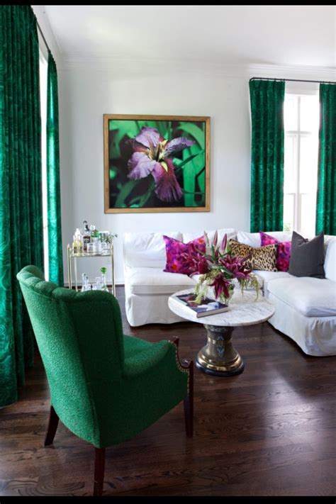 emerald green home decor polyvore sally wheat interiors malachite pattern drapery