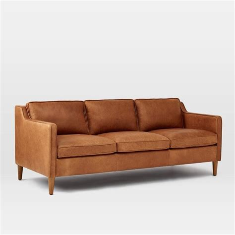 transitional leather sofa hamilton leather sofa transitional sofas by west elm