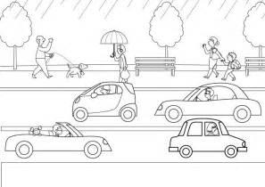 imprimir lluvia sobre los coches dibujo para colorear e