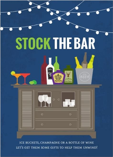 stock the bar housewarming fill in the blank invitation