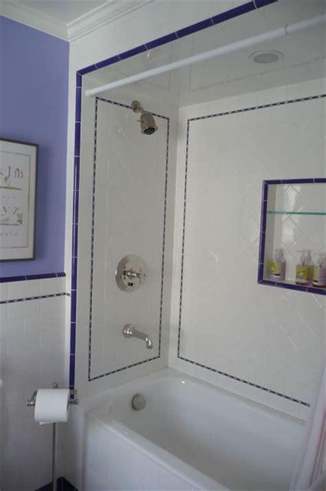 periwinkle bathroom pretty tile velvet linen